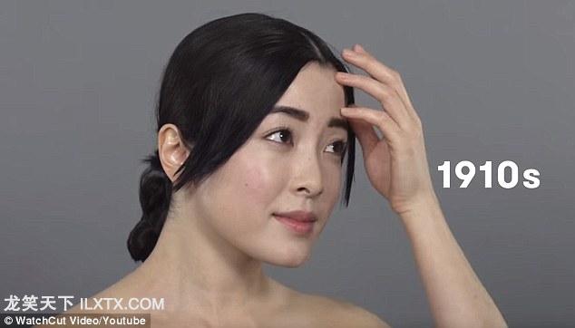 1910s: 中产阶级女性喜欢分开的刘海,低垂端庄的圆髻,不用化妆品