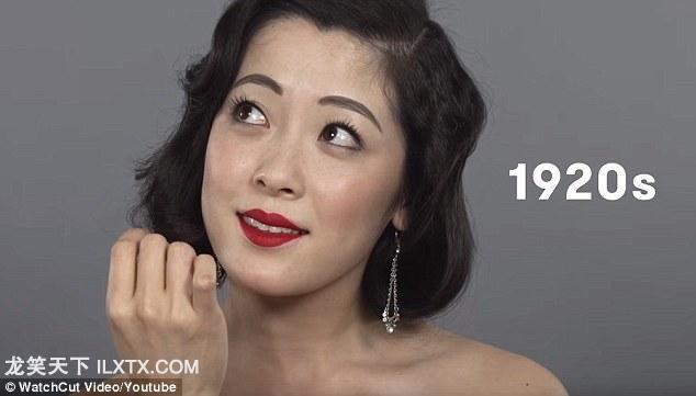 1920s: 用上了鲜艳的口红,小波浪短发,钻石吊坠耳环。反映了西方文化通过早期好莱坞默片对国内的影响