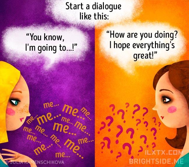 3. 负面的人说话时总在讲着自己,正面的人会想到去了解对方的心情