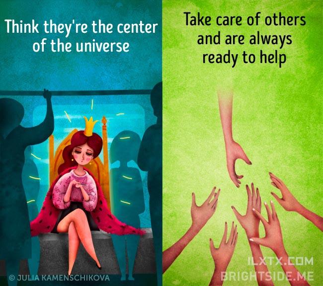 4. 负面的人往往觉得世界应该绕着他打转,正面的人却会伸出手扶他人一把