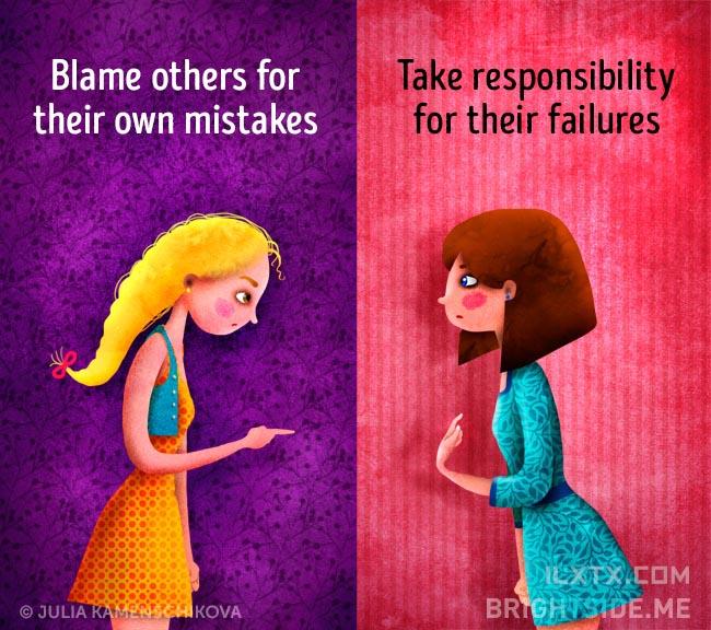 5. 负面的人总将错误怪到他人身上,正面的人懂得为自己的失败负起责任