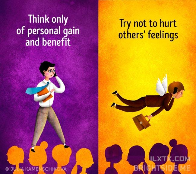 7. 负面的人只会想着个人利益,正面的人却会试着不去伤害到他人的感受