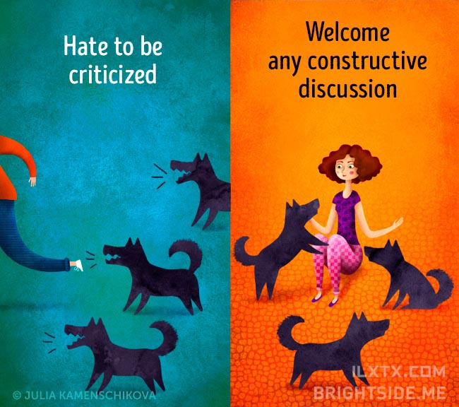 9. 负面的人讨厌被批评,正面的人则欢迎有建设性的讨论