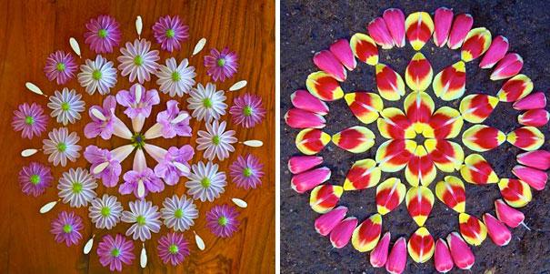 曼陀罗花卉拼出五颜六色的图案,太美了
